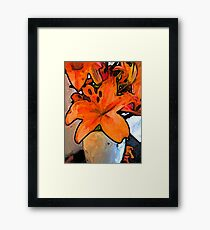 The Orange Lilies in the Mother of Pearl Vase Framed Print