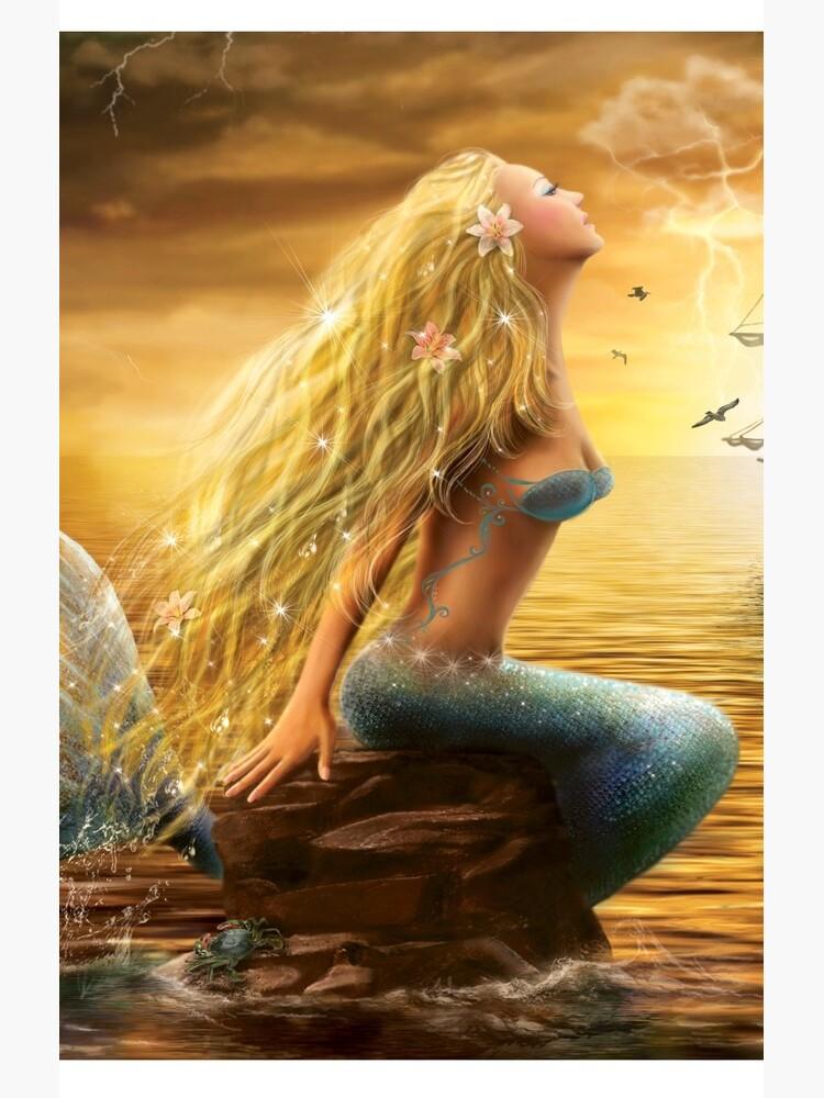 Schöne Fantasie-Meerjungfrau mit Schiff am Sonnenunterganghintergrund von AlenaLazareva