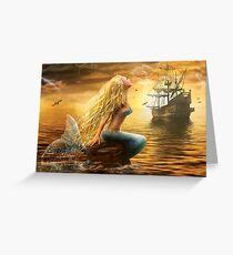 Beautiful Fantasy Sea Mermaid with Ship at Sunset background Greeting Card