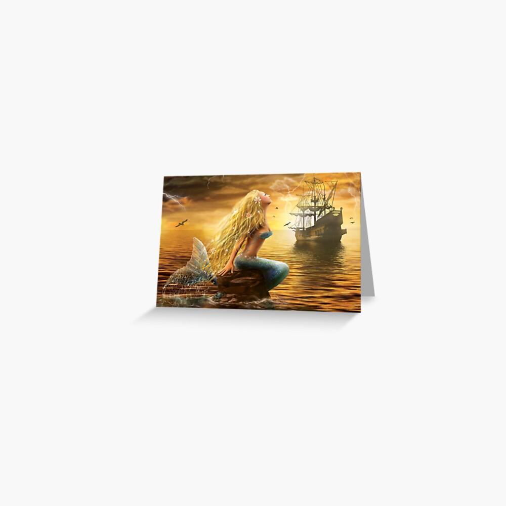 Schöne Fantasie-Meerjungfrau mit Schiff am Sonnenunterganghintergrund Grußkarte