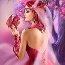 Schöne Fantasiefrauenkönigin und roter Drache Kirschblüte-Hintergrund von Alena Lazareva