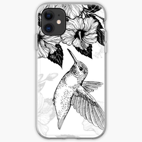 Hibiscus and hummingbird  iPhone Soft Case