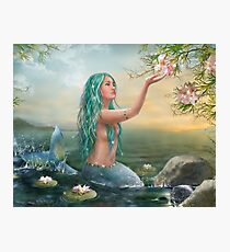 Mermaid in the Sunset with Green Hair & Lilies Photographic Print