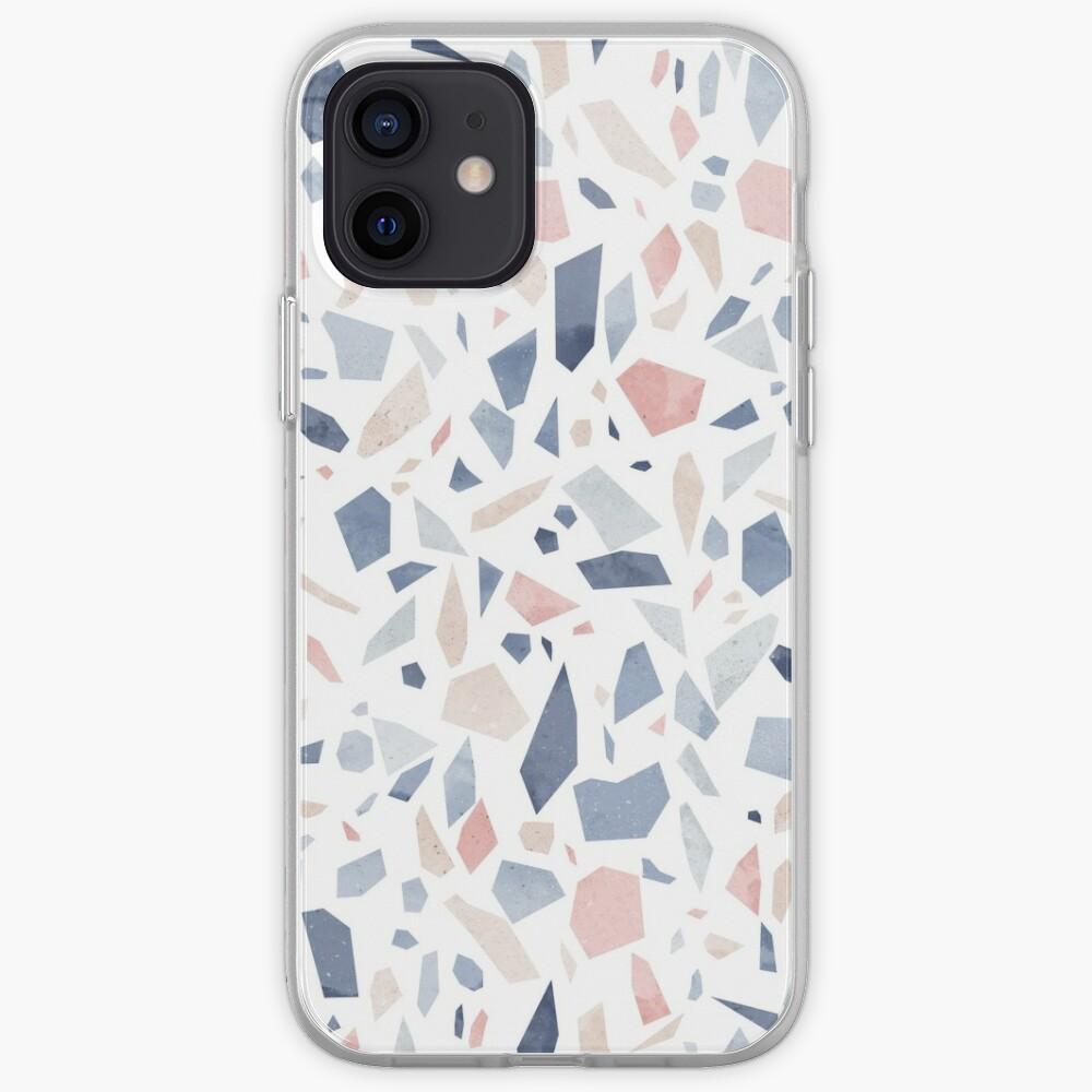 Vintage pastel blue pink beige geometric terrazzo pattern iPhone Case & Cover
