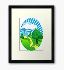 Green Grass Sunshine Elips PNG Framed Print