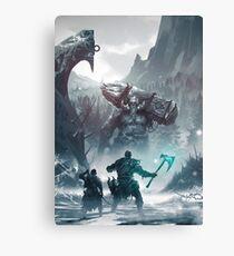 Kratos and Atreus fighting a Troll Canvas Print