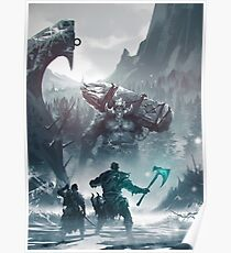 Kratos and Atreus fighting a Troll Poster