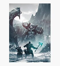 Kratos and Atreus fighting a Troll Photographic Print