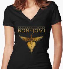 bon jovi tour 2018 greatest hits mandir Women's Fitted V-Neck T-Shirt