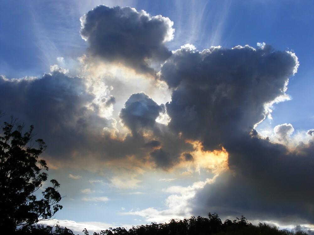 sky  clouds bushfire  burn-off smoke - by gaylene