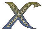 Celtic Knotwork Alphabet - Letter X by Carrie Dennison