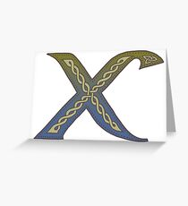 Celtic Knotwork Alphabet - Letter X Greeting Card