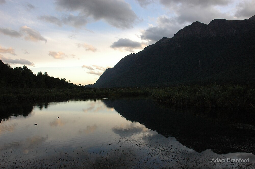 Mirror Lakes, Milford Sound Rd, NZ. by Adam Branford