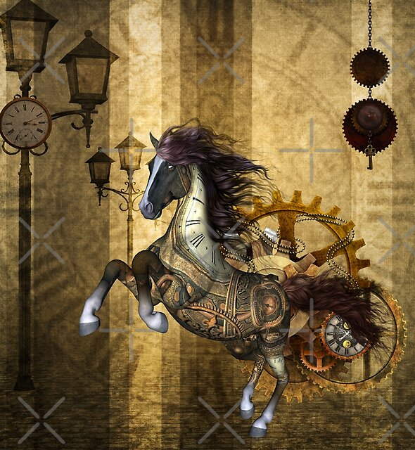 Awesome steampunk horse, clocks and gears in golden colors by nicky2342
