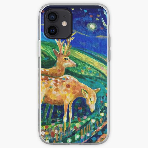 Winter Lights and Deer iPhone Soft Case