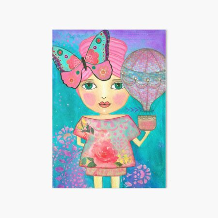 Be Free Whimsical Girl Mixed Media Art Board Print