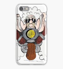 cool biker on a motorcycle , cartoon iPhone Case/Skin