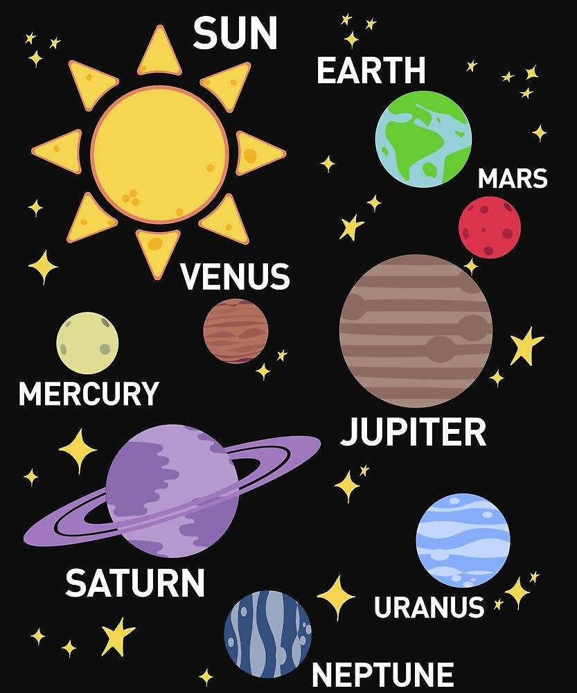 womens solar system shirt, planets, sun and planets, star