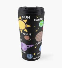 Taza de viaje camisa del sistema solar para mujer, planetas, sol y planetas, estrella y planeta, espacio exterior, todos los planetas, sistema solar, sistema planetario, heliocéntrico