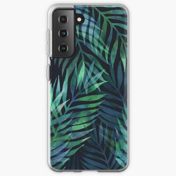Dark green palms leaves pattern Samsung Galaxy Soft Case