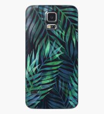 Dunkelgrüne Palmen Blätter Muster Hülle & Klebefolie für Samsung Galaxy