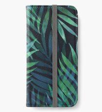 Dunkelgrüne Palmen Blätter Muster iPhone Flip-Case/Hülle/Klebefolie