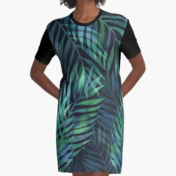 Dark green palms leaves pattern Graphic T-Shirt Dress