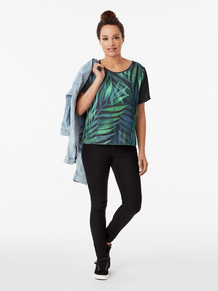 Alternate view of Dark green palms leaves pattern Chiffon Top