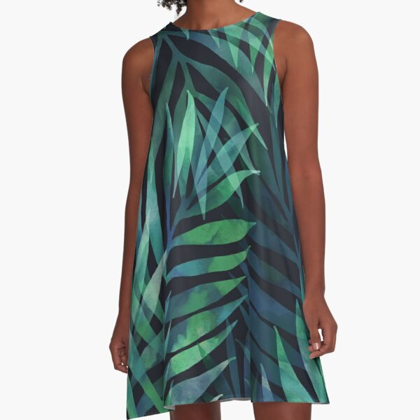 Dark green palms leaves pattern A-Line Dress