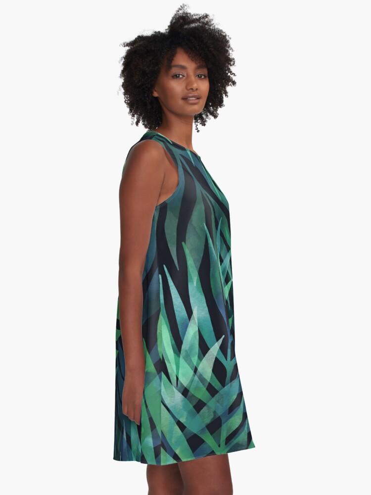 Alternate view of Dark green palms leaves pattern A-Line Dress