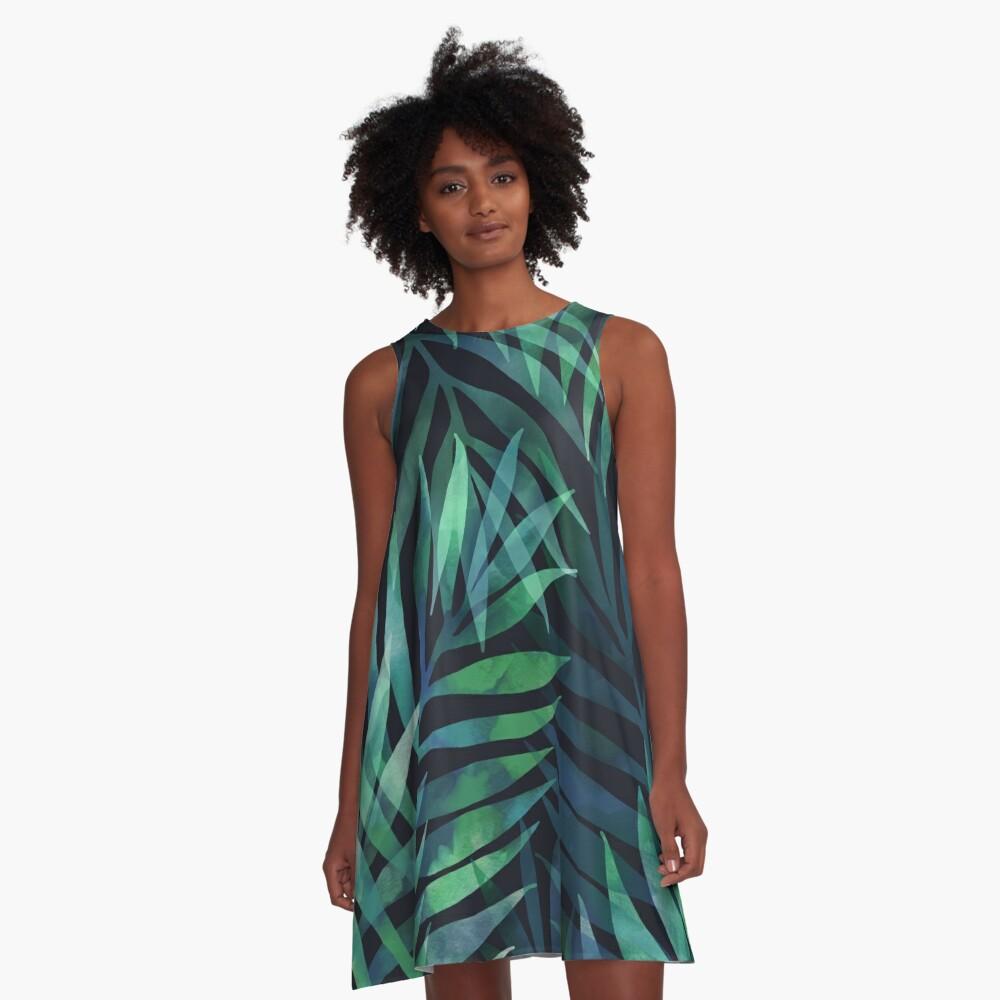 Dark green palms leaves pattern A-Line Dress
