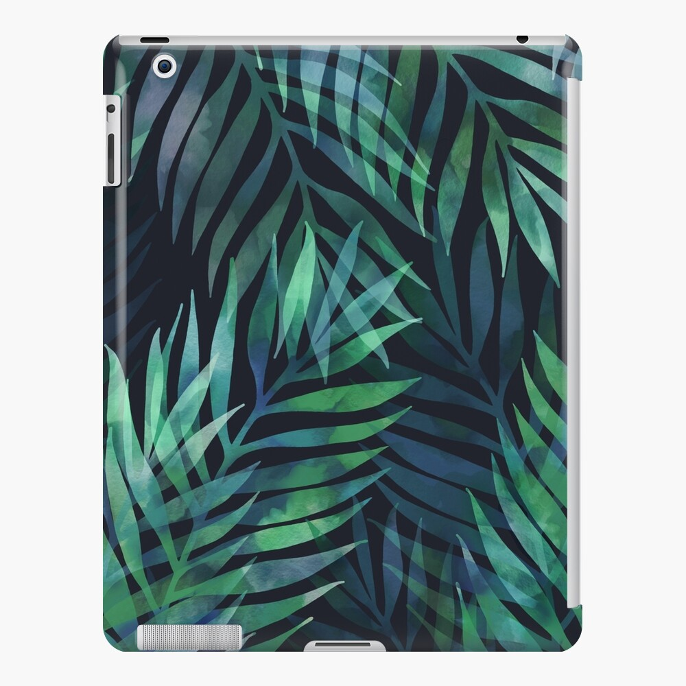 Dark green palms leaves pattern iPad Case & Skin