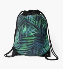 Dark green palms leaves pattern Drawstring Bag