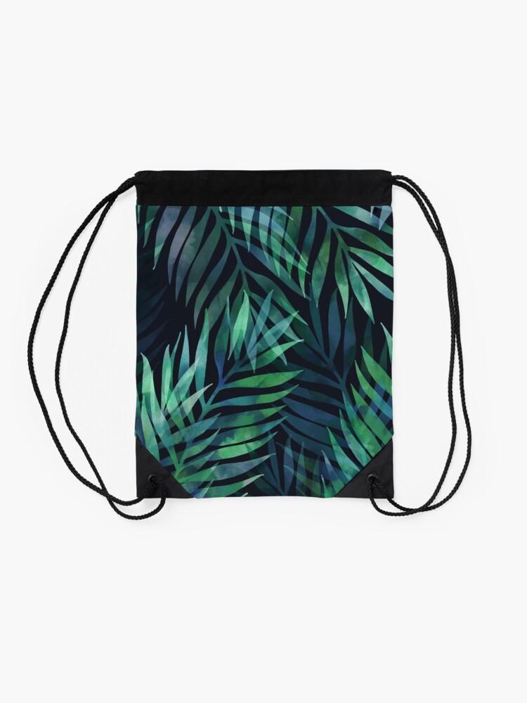 Alternate view of Dark green palms leaves pattern Drawstring Bag