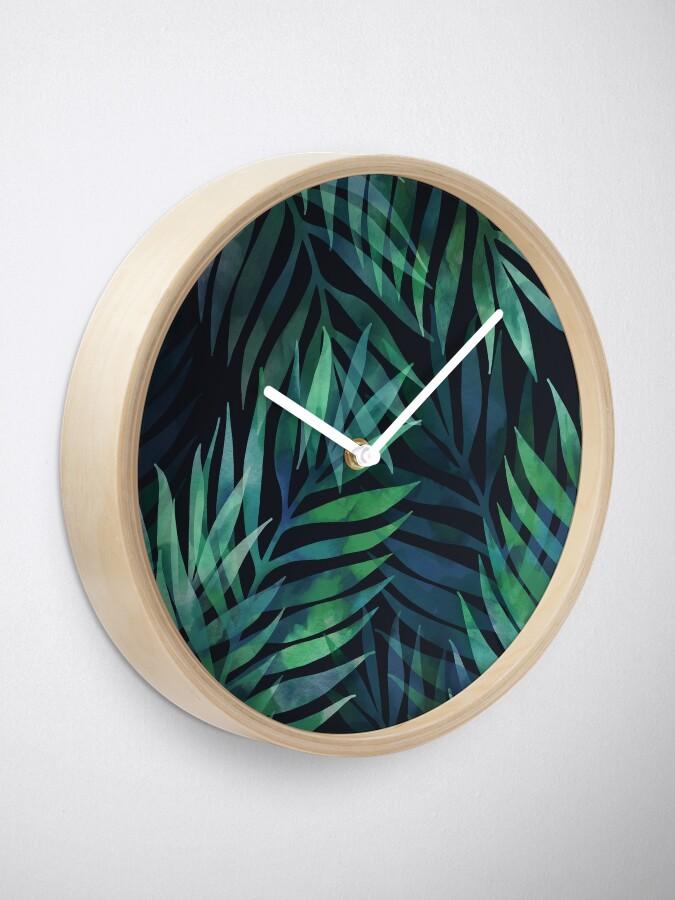 Alternate view of Dark green palms leaves pattern Clock