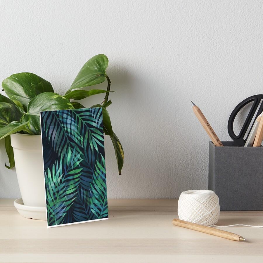 Dark green palms leaves pattern Art Board Print