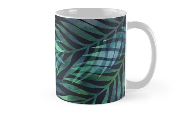 Dark green palms leaves pattern by MartaOlgaKlara