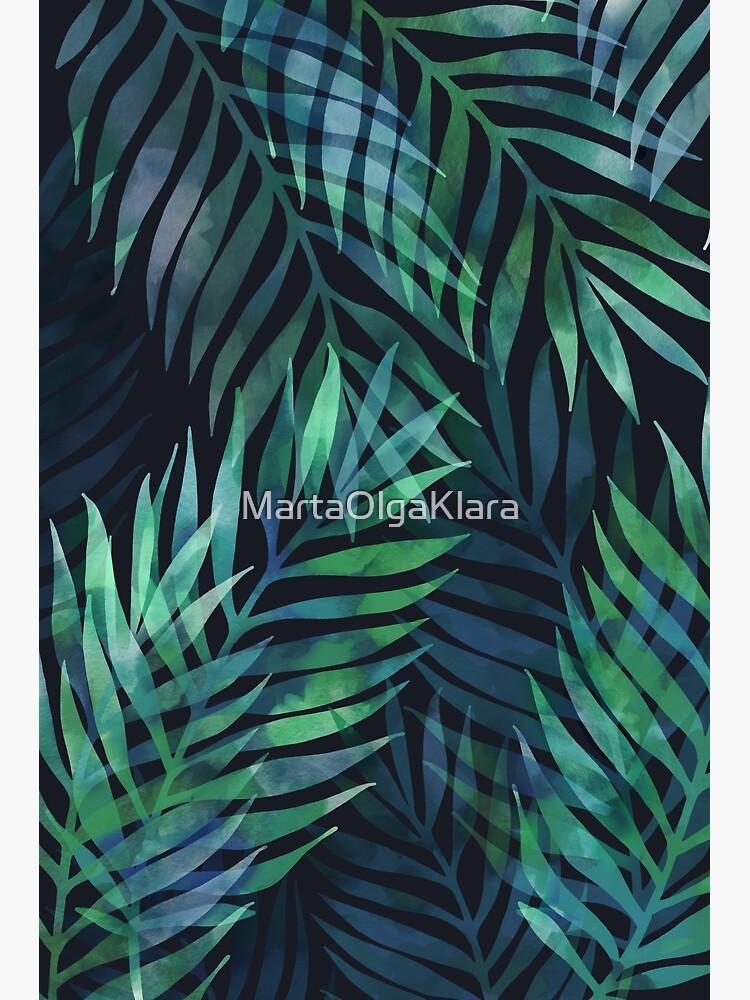 Dunkelgrüne Palmenblätter Muster von MartaOlgaKlara