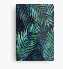 Dunkelgrüne Palmen Blätter Muster Metallbild