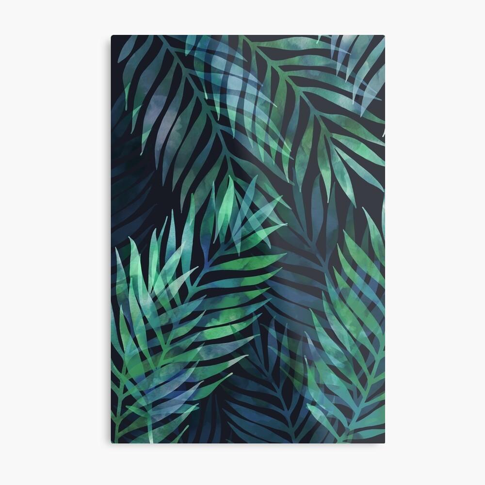 Dark green palms leaves pattern Metal Print