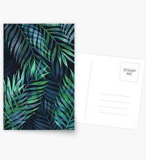 Dunkelgrüne Palmen Blätter Muster Postkarten
