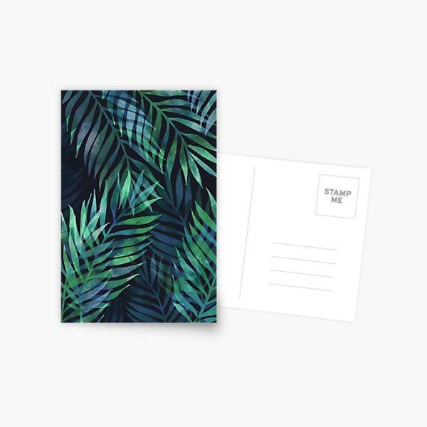 Dark green palms leaves pattern Postcard
