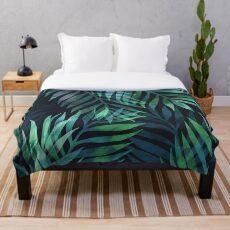 Dunkelgrüne Palmen Blätter Muster Fleecedecke