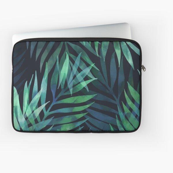 Dark green palms leaves pattern Laptop Sleeve