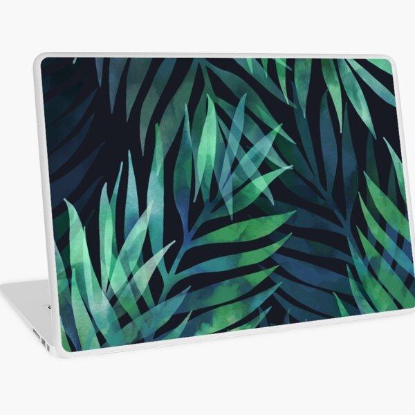 Dark green palms leaves pattern Laptop Skin