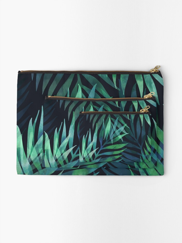 Alternate view of Dark green palms leaves pattern Zipper Pouch