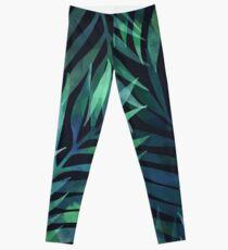 Dunkelgrüne Palmen Blätter Muster Leggings