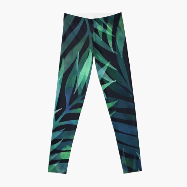 Dark green palms leaves pattern Leggings