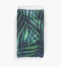 Dunkelgrüne Palmen Blätter Muster Bettbezug