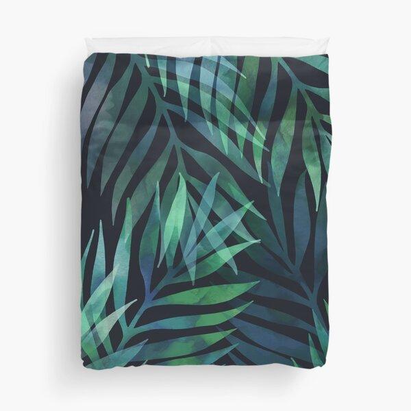 Dark green palms leaves pattern Duvet Cover